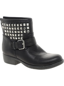 Outtlaww Stud Biker Boot - predominant colour: black; occasions: casual; material: leather; heel height: flat; embellishment: studs; heel: block; toe: round toe; boot length: ankle boot; style: biker boot; finish: plain; pattern: plain