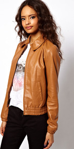 Retro Leather Bomber - pattern: plain; bust detail: added detail/embellishment at bust; style: bomber; predominant colour: camel; occasions: casual, evening, work; length: standard; fit: straight cut (boxy); fibres: leather - 100%; collar: shirt collar/peter pan/zip with opening; sleeve length: long sleeve; sleeve style: standard; texture group: leather; waist detail: drop waist; collar break: high/illusion of break when open; pattern type: fabric