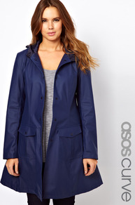 Curve Rain Mac With Hood - pattern: plain; fit: loose; style: mac; back detail: hood; hip detail: front pockets at hip; collar: high neck; length: mid thigh; predominant colour: royal blue; occasions: casual; fibres: polyester/polyamide - 100%; sleeve length: long sleeve; sleeve style: standard; texture group: technical outdoor fabrics; collar break: high; pattern type: fabric