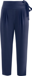 Keaka Trousers - pattern: plain; style: peg leg; waist detail: wide waistband/cummerbund; waist: high rise; pocket detail: pockets at the sides; predominant colour: navy; occasions: casual, evening, work, holiday; length: ankle length; fibres: polyester/polyamide - mix; hip detail: front pleats at hip level; fit: tapered; pattern type: fabric; texture group: jersey - stretchy/drapey