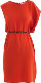 Espero Dress - style: shift; neckline: round neck; pattern: plain; sleeve style: asymmetric sleeve; waist detail: belted waist/tie at waist/drawstring; predominant colour: bright orange; occasions: evening, occasion; length: just above the knee; fit: body skimming; fibres: polyester/polyamide - mix; sleeve length: short sleeve; texture group: silky - light; pattern type: fabric; pattern size: standard