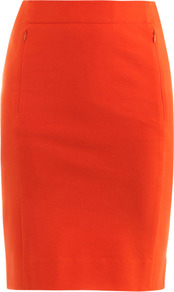 New Koto Skirt - pattern: plain; style: pencil; fit: tailored/fitted; waist: high rise; predominant colour: bright orange; occasions: evening, work, occasion; length: just above the knee; fibres: viscose/rayon - stretch; texture group: jersey - clingy; pattern type: fabric