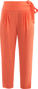 Keaka Trousers - pattern: plain; style: peg leg; waist: high rise; waist detail: belted waist/tie at waist/drawstring; predominant colour: coral; occasions: casual, evening, work, holiday; length: ankle length; fibres: polyester/polyamide - stretch; hip detail: front pleats at hip level; texture group: crepes; fit: tapered; pattern type: fabric