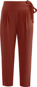 Keaka Trousers - pattern: plain; style: peg leg; waist: high rise; waist detail: belted waist/tie at waist/drawstring; predominant colour: terracotta; occasions: casual, evening, work; length: ankle length; fibres: polyester/polyamide - stretch; hip detail: front pleats at hip level; texture group: crepes; fit: tapered; pattern type: fabric