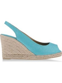 Espadrilles Espadrilles On Shoescribe.Com - predominant colour: turquoise; occasions: casual, holiday; material: fabric; heel height: high; ankle detail: ankle strap; heel: wedge; toe: open toe/peeptoe; style: standard; finish: plain; pattern: plain