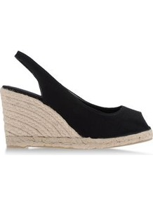 Espadrilles Espadrilles On Shoescribe.Com - predominant colour: black; occasions: casual, holiday; material: fabric; heel height: high; ankle detail: ankle strap; heel: wedge; toe: open toe/peeptoe; style: standard; finish: plain; pattern: plain