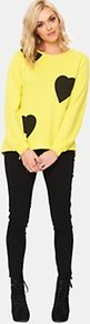 Neon Heart Sweater - neckline: round neck; style: standard; predominant colour: lime; occasions: casual; length: standard; fibres: polyester/polyamide - mix; fit: standard fit; back detail: longer hem at back than at front; sleeve length: long sleeve; sleeve style: standard; texture group: knits/crochet; trends: fluorescent; pattern type: knitted - fine stitch; pattern size: standard; pattern: patterned/print