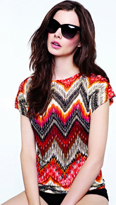 Multi Zig Zag Top - neckline: slash/boat neckline; style: t-shirt; occasions: casual, holiday; length: standard; fibres: viscose/rayon - 100%; fit: straight cut; predominant colour: multicoloured; sleeve length: short sleeve; sleeve style: standard; pattern type: fabric; pattern size: big & busy; pattern: patterned/print; texture group: jersey - stretchy/drapey