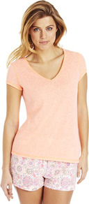 Neon V Neck Lounge Top - neckline: v-neck; pattern: plain; style: t-shirt; predominant colour: nude; occasions: casual; length: standard; fibres: polyester/polyamide - mix; fit: straight cut; sleeve length: short sleeve; sleeve style: standard; pattern type: fabric; texture group: jersey - stretchy/drapey