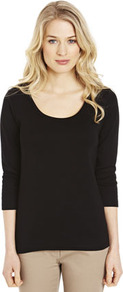 Basics Scoop Neck Top - pattern: plain; style: t-shirt; predominant colour: black; occasions: casual, work; length: standard; neckline: scoop; fibres: cotton - 100%; fit: body skimming; sleeve length: 3/4 length; sleeve style: standard; pattern type: fabric; texture group: jersey - stretchy/drapey