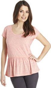Peplum T Shirt - sleeve style: capped; pattern: plain; style: t-shirt; waist detail: peplum waist detail; predominant colour: blush; occasions: casual; length: standard; neckline: scoop; fibres: polyester/polyamide - mix; fit: body skimming; sleeve length: short sleeve; pattern type: fabric; texture group: jersey - stretchy/drapey