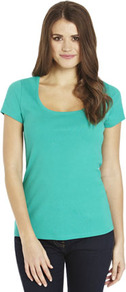 Basics Ribbed Short Sleeve T Shirt - pattern: plain; style: t-shirt; predominant colour: mint green; occasions: casual; length: standard; neckline: scoop; fibres: cotton - 100%; fit: body skimming; sleeve length: short sleeve; sleeve style: standard; texture group: cotton feel fabrics; pattern type: fabric