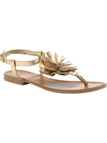 Leather Flower Sandals - predominant colour: gold; occasions: casual, evening, occasion, holiday; material: leather; heel height: flat; ankle detail: ankle strap; heel: standard; toe: toe thongs; style: flip flops / toe post; trends: metallics; finish: metallic; pattern: plain; embellishment: corsage