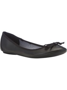 Ballerina Pumps - predominant colour: black; occasions: casual, work; material: faux leather; heel height: flat; toe: round toe; style: ballerinas / pumps; finish: plain; pattern: plain; embellishment: bow