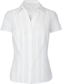 Classics White Short Sleeve Shirt - neckline: shirt collar/peter pan/zip with opening; pattern: vertical stripes; style: shirt; predominant colour: white; occasions: casual, work; length: standard; fit: tailored/fitted; sleeve length: short sleeve; sleeve style: standard; texture group: cotton feel fabrics; pattern type: fabric; pattern size: small & light; fibres: viscose/rayon - mix