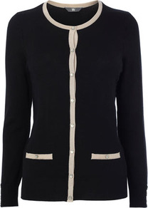 Black/Neutral Stretch Tipped Cardigan - neckline: round neck; pattern: plain; bust detail: buttons at bust (in middle at breastbone)/zip detail at bust; predominant colour: black; occasions: casual, work; length: standard; style: standard; fibres: nylon - mix; fit: standard fit; waist detail: front pockets at waist level; sleeve length: long sleeve; sleeve style: standard; texture group: knits/crochet; pattern type: knitted - other; pattern size: small & light