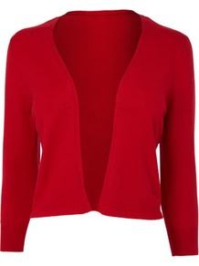 Red Occasion Edge To Edge Cardigan - pattern: plain; style: bolero/shrug; length: cropped; neckline: collarless open; predominant colour: true red; occasions: casual, work, occasion; fibres: nylon - mix; fit: slim fit; sleeve length: 3/4 length; sleeve style: standard; texture group: knits/crochet; pattern type: knitted - other