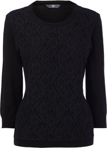 Black Lace Front Jumper - neckline: round neck; style: standard; back detail: contrast pattern/fabric at back; predominant colour: black; occasions: casual, work; length: standard; fibres: cotton - mix; fit: standard fit; bust detail: contrast pattern/fabric/detail at bust; sleeve length: 3/4 length; sleeve style: standard; texture group: knits/crochet; pattern type: fabric; pattern size: standard; embellishment: embroidered
