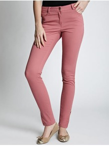 Candy Pink Ankle Grazer Jean - style: skinny leg; length: standard; pattern: plain; pocket detail: traditional 5 pocket; waist: mid/regular rise; predominant colour: pink; occasions: casual; fibres: cotton - stretch; texture group: denim; pattern type: fabric