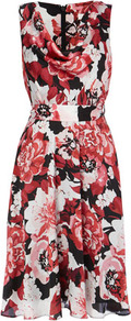 Red Floral Cowl Neck Dress - neckline: cowl/draped neck; sleeve style: sleeveless; bust detail: ruching/gathering/draping/layers/pintuck pleats at bust; predominant colour: pink; length: on the knee; fit: fitted at waist & bust; style: fit & flare; fibres: polyester/polyamide - 100%; occasions: occasion; hip detail: structured pleats at hip; sleeve length: sleeveless; texture group: sheer fabrics/chiffon/organza etc.; trends: high impact florals; pattern type: fabric; pattern size: big & busy; pattern: florals