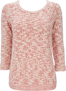 Red Curve Hem Sweater - neckline: round neck; pattern: plain; style: standard; predominant colour: true red; occasions: casual, work; length: standard; fibres: cotton - 100%; fit: standard fit; sleeve length: 3/4 length; sleeve style: standard; texture group: knits/crochet; pattern type: knitted - other; pattern size: small &amp; light