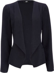 Navy Crepe Waterfall Jacket - pattern: plain; style: single breasted blazer; collar: shawl/waterfall; predominant colour: navy; occasions: casual, work, occasion; length: standard; fit: tailored/fitted; fibres: polyester/polyamide - 100%; sleeve length: long sleeve; sleeve style: standard; texture group: crepes; collar break: low/open; pattern type: fabric