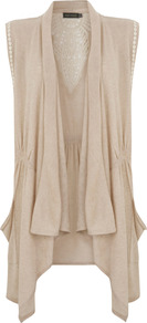 Neutral Lace Detail Waistcoat - pattern: plain; sleeve style: sleeveless; collar: shawl/waterfall; fit: loose; back detail: contrast pattern/fabric at back; predominant colour: stone; occasions: casual; style: waistcoat; sleeve length: sleeveless; collar break: low/open; pattern type: fabric; texture group: jersey - stretchy/drapey; fibres: viscose/rayon - mix; embellishment: lace