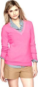 Cotton V Neck Pullover Sweater - neckline: v-neck; pattern: plain; style: standard; predominant colour: pink; occasions: casual, work; length: standard; fibres: cotton - mix; fit: standard fit; sleeve length: long sleeve; sleeve style: standard; texture group: knits/crochet; pattern type: knitted - other