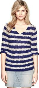 Striped Beach Sweater - neckline: low v-neck; pattern: horizontal stripes; style: standard; predominant colour: navy; occasions: casual, work; length: standard; fibres: cotton - mix; fit: standard fit; sleeve length: 3/4 length; sleeve style: standard; texture group: knits/crochet; pattern type: knitted - other; pattern size: standard
