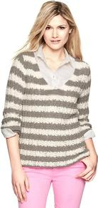 Striped Beach Sweater - neckline: low v-neck; pattern: horizontal stripes; style: standard; predominant colour: light grey; occasions: casual, work; length: standard; fibres: cotton - mix; fit: standard fit; sleeve length: 3/4 length; sleeve style: standard; texture group: knits/crochet; pattern type: knitted - other; pattern size: standard