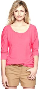 Dolman Sleeve Slub Pullover - pattern: plain; style: standard; predominant colour: pink; occasions: casual, work; length: standard; neckline: scoop; fibres: cotton - 100%; fit: standard fit; sleeve length: 3/4 length; sleeve style: standard; pattern type: fabric; texture group: jersey - stretchy/drapey