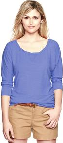 Dolman Sleeve Slub Pullover - pattern: plain; style: standard; predominant colour: indigo; occasions: casual, work; length: standard; neckline: scoop; fibres: polyester/polyamide - 100%; fit: standard fit; sleeve length: 3/4 length; sleeve style: standard; pattern type: fabric; texture group: jersey - stretchy/drapey