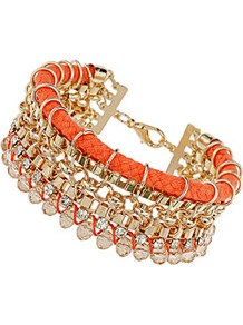 Coral Cord Friendship Bracelet - predominant colour: coral; secondary colour: gold; occasions: evening, holiday; style: bangle; size: large/oversized; material: chain/metal; trends: metallics; finish: metallic; embellishment: crystals