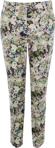 Hyper Floral Trouser - length: standard; pocket detail: small back pockets, pockets at the sides; waist: mid/regular rise; occasions: casual, evening, work; fibres: cotton - stretch; hip detail: fitted at hip (bottoms); predominant colour: multicoloured; texture group: cotton feel fabrics; trends: high impact florals; fit: slim leg; pattern type: fabric; pattern size: small & busy; pattern: florals; style: standard