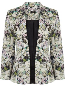 Hyper Floral Jacket - style: single breasted blazer; collar: standard lapel/rever collar; occasions: casual, evening, occasion; length: standard; fit: tailored/fitted; fibres: cotton - stretch; predominant colour: multicoloured; sleeve length: long sleeve; sleeve style: standard; trends: high impact florals; collar break: low/open; pattern type: fabric; pattern size: big & busy; pattern: florals; texture group: woven light midweight