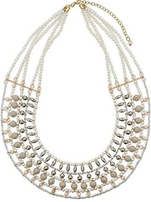 Blush Bead Necklace - predominant colour: ivory; occasions: casual, evening, work, occasion, holiday; style: choker/collar; length: short; size: large/oversized; material: chain/metal; trends: metallics; finish: metallic; embellishment: beading
