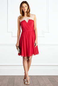 Mineraux Dress - neckline: round neck; fit: fitted at waist; pattern: plain; sleeve style: sleeveless; style: blouson; waist detail: fitted waist; shoulder detail: contrast pattern/fabric at shoulder; bust detail: ruching/gathering/draping/layers/pintuck pleats at bust; secondary colour: ivory; predominant colour: true red; length: just above the knee; fibres: polyester/polyamide - 100%; occasions: occasion; hip detail: soft pleats at hip/draping at hip/flared at hip; sleeve length: sleeveless; texture group: sheer fabrics/chiffon/organza etc.; pattern type: fabric