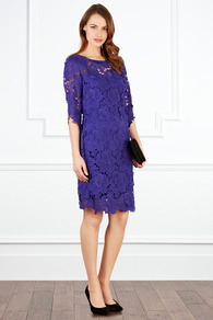 Vivianna Lace Dress - style: shift; neckline: round neck; fit: tailored/fitted; pattern: plain; predominant colour: purple; occasions: evening, occasion; length: just above the knee; fibres: polyester/polyamide - 100%; sleeve length: 3/4 length; sleeve style: standard; texture group: lace; pattern type: fabric; embellishment: lace