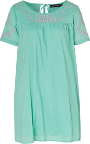 Aqua Cotton Dress - style: tunic; length: mid thigh; neckline: round neck; fit: loose; pattern: plain; secondary colour: pink; predominant colour: turquoise; occasions: casual, holiday; fibres: cotton - 100%; back detail: keyhole/peephole detail at back; sleeve length: short sleeve; sleeve style: standard; texture group: cotton feel fabrics; pattern type: fabric; embellishment: embroidered