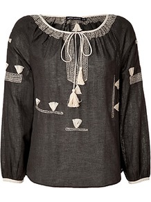 Black Cotton Tunic Top - neckline: round neck; bust detail: added detail/embellishment at bust; sleeve style: balloon; style: blouse; secondary colour: ivory; predominant colour: black; occasions: casual, holiday; length: standard; fibres: cotton - 100%; fit: straight cut; back detail: longer hem at back than at front; sleeve length: long sleeve; texture group: cotton feel fabrics; pattern type: fabric; pattern size: small & light; pattern: patterned/print; embellishment: embroidered