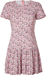 Passion Pink Multi Flower Print Dress - style: tea dress; length: mid thigh; neckline: round neck; waist detail: drop waist; predominant colour: pink; occasions: casual, evening; fit: soft a-line; fibres: viscose/rayon - stretch; hip detail: soft pleats at hip/draping at hip/flared at hip; sleeve length: short sleeve; sleeve style: standard; texture group: crepes; trends: high impact florals; pattern type: fabric; pattern size: small & busy; pattern: florals