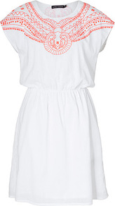 White Cotton Dress - neckline: round neck; sleeve style: capped; fit: fitted at waist; style: sundress; waist detail: elasticated waist; predominant colour: white; secondary colour: bright orange; occasions: casual, holiday; length: just above the knee; fibres: cotton - 100%; hip detail: soft pleats at hip/draping at hip/flared at hip; shoulder detail: added shoulder detail; sleeve length: sleeveless; texture group: cotton feel fabrics; pattern type: fabric; pattern size: small & light; pattern: patterned/print; embellishment: embroidered