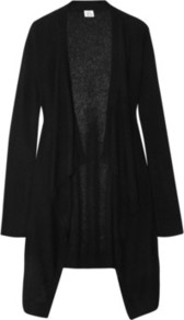 Draped Cashmere Cardigan - neckline: waterfall neck; style: open front; predominant colour: black; occasions: casual, work; fit: loose; length: mid thigh; fibres: cashmere - 100%; sleeve length: long sleeve; sleeve style: standard; texture group: knits/crochet; pattern type: knitted - fine stitch