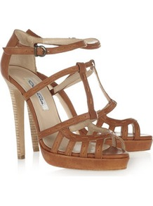 Lele Leather Sandals - predominant colour: tan; occasions: evening, occasion, holiday; material: leather; heel height: high; ankle detail: ankle strap; heel: platform; toe: open toe/peeptoe; style: strappy; finish: plain; pattern: plain