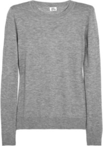 Fine Knit Cashmere Sweater - style: standard; predominant colour: mid grey; occasions: casual, work; length: standard; fit: standard fit; neckline: crew; fibres: cashmere - 100%; sleeve length: long sleeve; sleeve style: standard; texture group: knits/crochet; pattern type: knitted - fine stitch; pattern size: standard