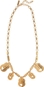 Gold Plated Guitar Necklace - predominant colour: gold; occasions: casual, evening, work, occasion; style: charm; length: mid; size: standard; material: chain/metal; trends: metallics; finish: metallic; embellishment: chain/metal