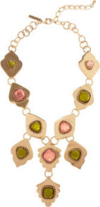 24 Karat Gold Plated Leaf Necklace - predominant colour: gold; occasions: evening, work, occasion, holiday; style: pendant; length: long; size: large/oversized; material: chain/metal; trends: metallics, modern geometrics; finish: metallic; embellishment: jewels