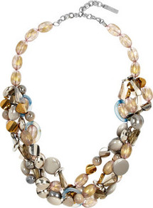 Beaded Necklace - occasions: casual, evening, occasion, holiday; predominant colour: multicoloured; style: choker/collar; length: short; size: standard; material: chain/metal; finish: plain; embellishment: beading