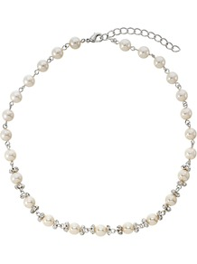 White Pearl And Cubic Zirconia Necklace - predominant colour: white; secondary colour: silver; occasions: evening, work, occasion; style: standard; length: short; size: small/fine; material: chain/metal; finish: plain; embellishment: pearls