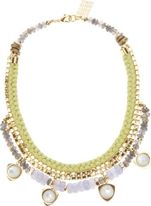 'Sun Prairie' Necklace - secondary colour: ivory; occasions: evening, occasion; predominant colour: multicoloured; style: standard; length: short; size: large/oversized; material: chain/metal; finish: plain; embellishment: pearls